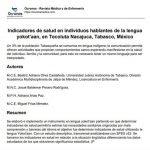 Indicadores de salud en individuos hablantes de la lengua yokot'aan, en Tecoluta Nacajuca, Tabasco, México