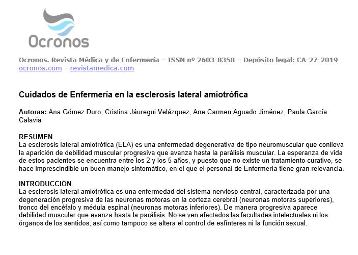 Cuidados De Enfermería En La Esclerosis Lateral Amiotrófica Ocronos Editorial Científico Técnica