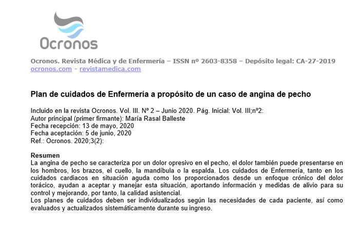 Plan De Cuidados De Enfermería A Propósito De Un Caso De Angina De Pecho Ocronos Editorial Científico Técnica