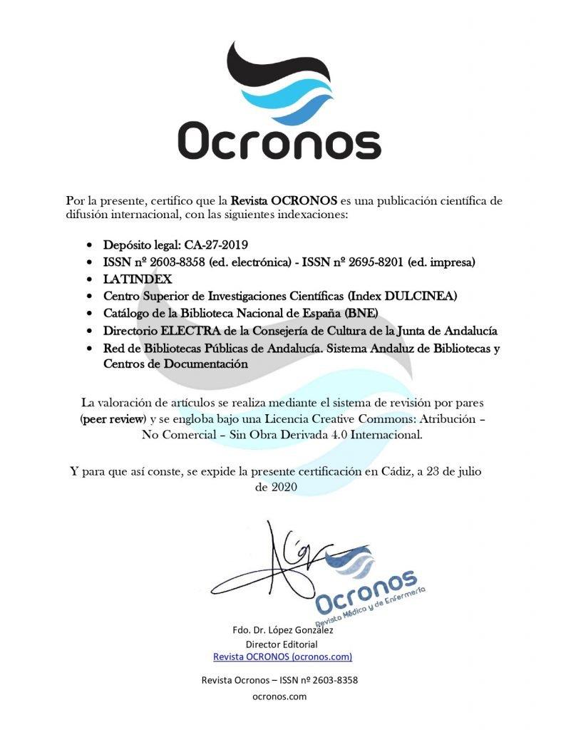 Certificado caracter cientifico Revista OCRONOS
